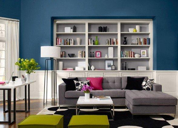 salotto blu   Di che colore dipingere le pareti di casa?